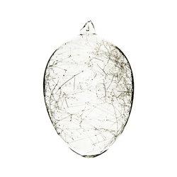 Vajíčko čiré s vlákny, 8x8x12 cm, sklo