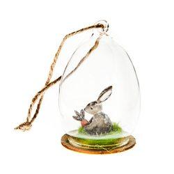 Zajíček ve skle barevný, malý, 5x5x8 cm, polyresin