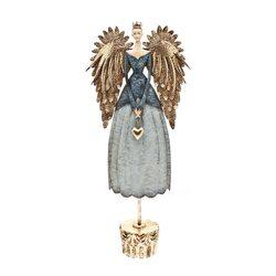 Anděl v modrých šatech, 12x30x70 cm, kov