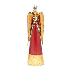 Anděl červený se zlatými křídly, 12x23x75 cm, kov