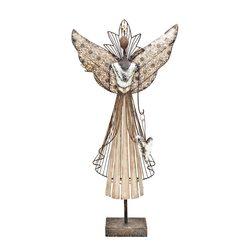 Anděl Tepa s ptáčkem, 11x41x82 cm, kov