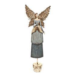 Anděl v šedých šatech, 15x36x103 cm, kov