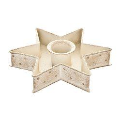 Svícen ve tvaru hvězdy, bílý, 12x12x2,5 cm, kov
