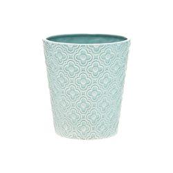 Květináč s kvítky tyrkysový, 13x13x14 cm, keramika