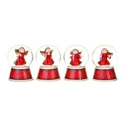 Sněžítko s andělem červené, 4 dr., 5x5x6 cm, polyr