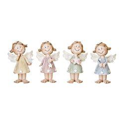 Anděl s hvězdičkami pastelový, 4 dr., 6x4x10 cm, p