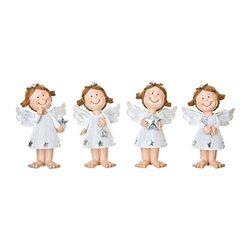 Anděl s hvězdičkami bílý, 4 dr., 6x4x10 cm, polyre