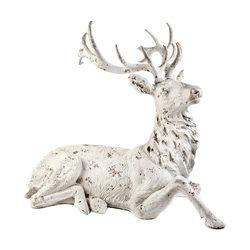 Jelen bílý ležící, 65x100x87 cm, polyresin