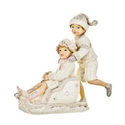 Děti zimy na saních, 5x16x16 cm, polyresin