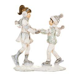 Děti zimy na bruslích, 7x19x22 cm, polyresin