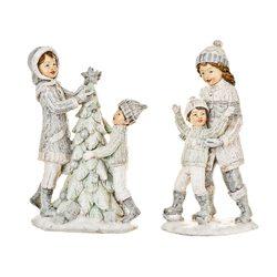 Děti zimy zdobící stromeček, 7x13x20 cm, polyresin