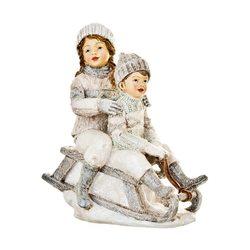 Děti zimy na sáních stříbrní, 7x13x16 cm, polyresi