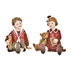 Děti Retro s hračkami sedící, červená, 2 dr., 11x8