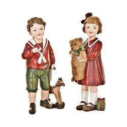 Děti Retro s hračkami stojící, červená, 2 dr., 8x5