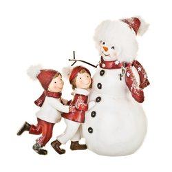 Sněhulák a děti, 22x15x21 cm, polyresin