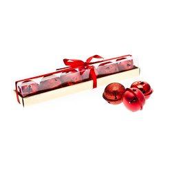 Rolničky v krabičce, 6 ks, červená, 4x23x4 cm, kov
