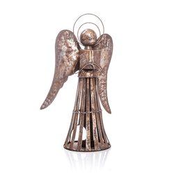 Anděl Patin svícen, 23x15x40 cm, kov