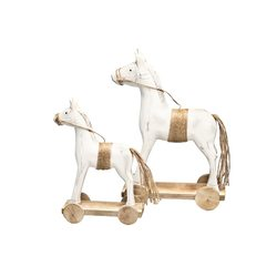 Dřevěný kůň na kolečkách 32 cm