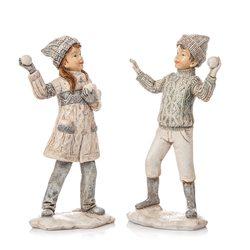 Děti zimy koulující se stříbrné, 2 dr., 14 cm