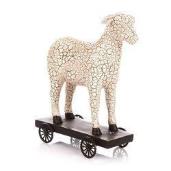 Ovečka na vozíku, 8x18x21 cm, polyresin