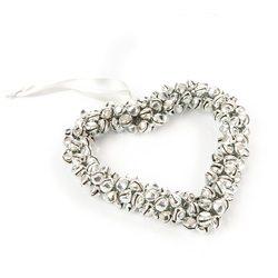 Srdce z rolniček stříbrné, 10 cm