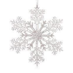 Vánoční ozdoba vločka dělená, 25x25x0,5 cm, plast
