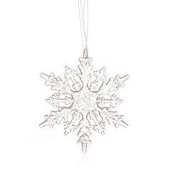 Vánoční ozdoba vločka hustá, 16x16x0,5 cm, plast