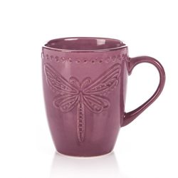 Hrnek fialový Vážka reliéfní, 300 ml, 9x6x11 cm, k