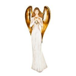 Anděl Pana se srdcem, 9x13x32 cm, polyresin