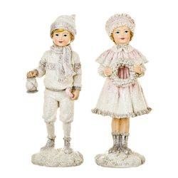 Děti zimy s věnečkem a lucernou, 2 dr., 4x8x17 cm,
