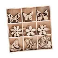 Dekorační ozdoby fauna-flora, 14x14x3 cm, dřevo