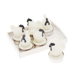 Svíčka čaj. Slepička, set 6 ks, 4x4x6 cm, vosk