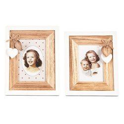 Fotorámeček Srdíčka, 1,5x18x23 cm, dřevo, sklo