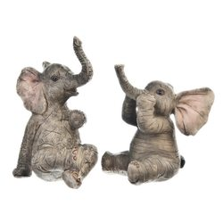 Slon tmavý sedící, 6x5x10 cm, polyresin