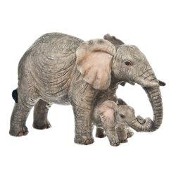Slon tmavý se slůnětem, 14x6x9 cm, polyresin