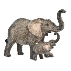Slon tmavý se slůnětem, 15x6x11 cm, polyresin