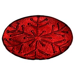 Tác s motivem vločky, červená, 25x25x3 cm, sklo