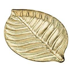 Tác List zlatý, 37x26x2 cm, sklo