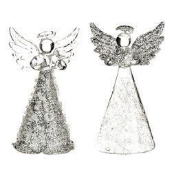 Anděl skleněný s čirými křídly a stříbrnou sukní,