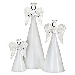 Anděl skleněný s bílou sukní, 6x6x14 cm, sklo