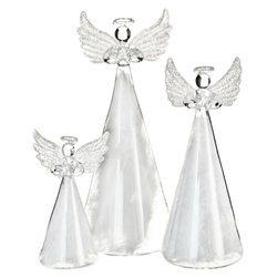 Anděl skleněný s peřím, 8x7x18 cm, sklo, peří