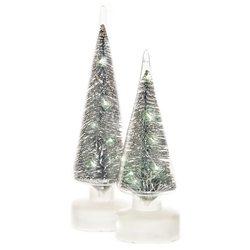 Stromek svítící LED ve skle, stříbrá, 3xAA, 9x9x25