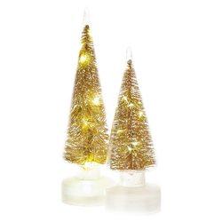 Stromek svítící LED ve skle, zlatá, 3xAA, 9x9x30 c
