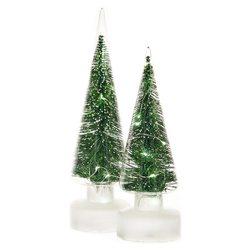 Stromek svítící LED ve skle, zelená, 3xAA, 9x9x30