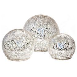 Koule svítící LED stříbrná, 3xAA, 10x10x9 cm, sklo