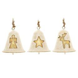 Zvoneček s jelenem, zlatý, 8x7x7 cm, kov