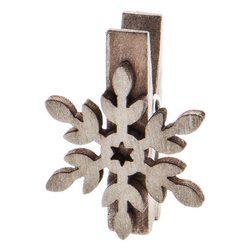 Kolíčky s vločkou, 8 ks, 3x3x1,5, dřevo