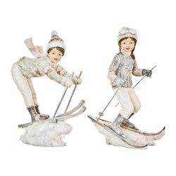 Děti zimy, kluk na lyžích, 6x4x19 cm, polyresin