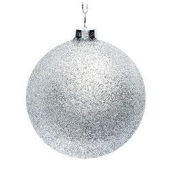 Vánoční ozdoba - Baňka stříbrná třpytivá, 8 cm