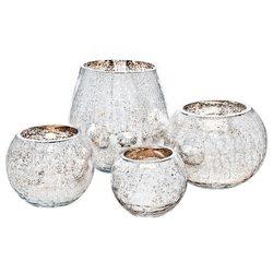 Svícen praskaný stříbrno zlatý, 12x12x10 cm, sklo